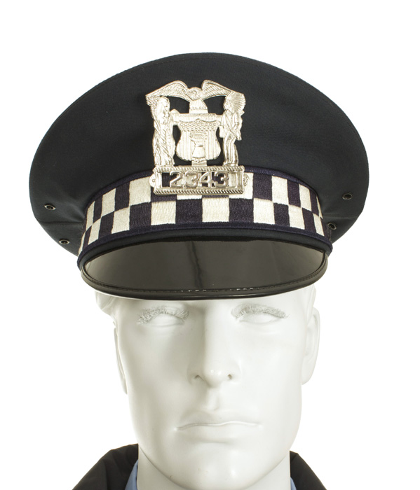 chicago police officer with jacket and service cap